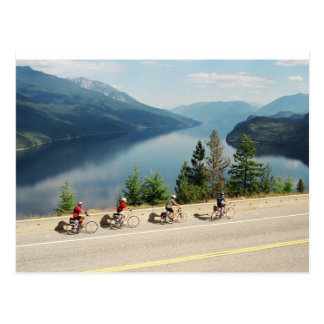 Cycling along Hwy 6 - Slocan Lk - British Columbia Postcard