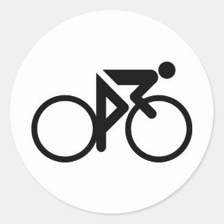 cycling black cylcer round sticker