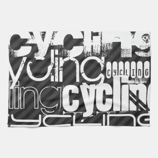 Cycling; Black & Dark Gray Stripes Hand Towel