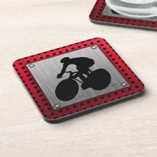 Cycling; Brushed metal look Beverage Coaster