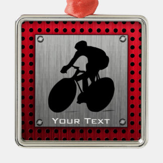 Cycling; Brushed metal look Square Metal Christmas Ornament
