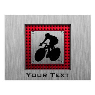 Cycling; Brushed metal look Postcard