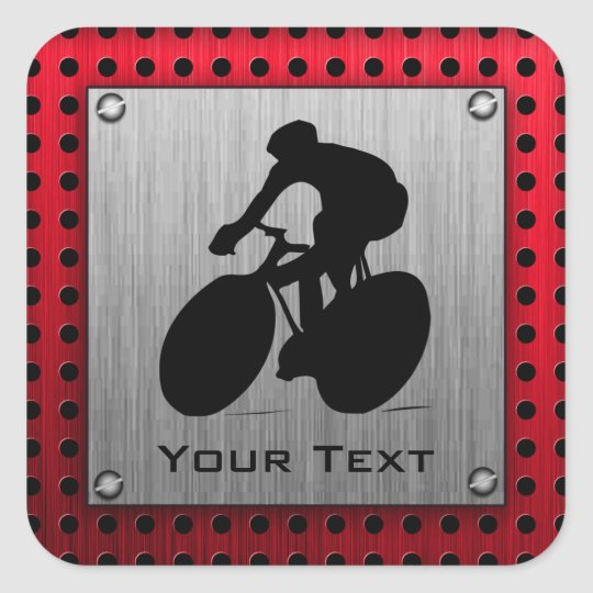 Cycling; Brushed metal look Square Sticker