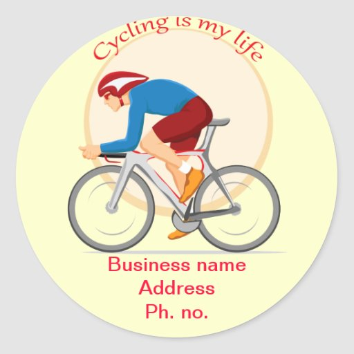 Cycling business round sticker.