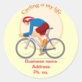 Cycling business round sticker. classic round sticker