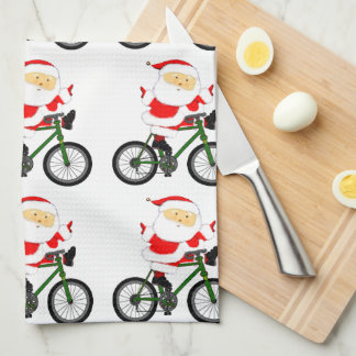 Cycling Christmas Kitchen Towel
