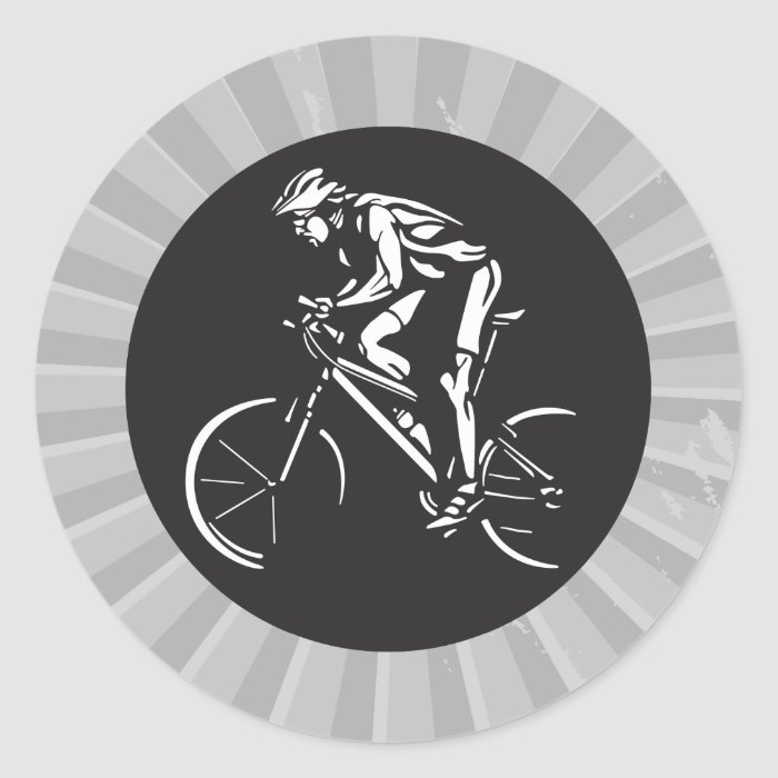 cycling clycer inverse silhouette classic round sticker