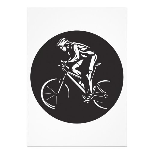 cycling clycer inverse silhouette invitation