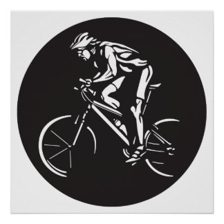 cycling clycer inverse silhouette poster