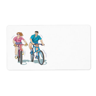 Cycling Couple Label