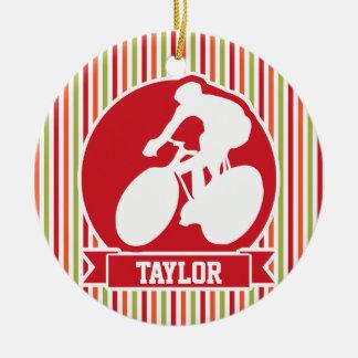 Cycling, Cyclist; Red, Orange Green Stripes Ceramic Ornament