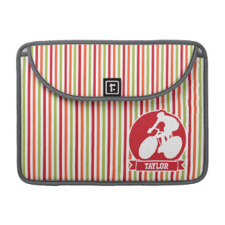 Cycling, Cyclist; Red, Orange Green Stripes MacBook Pro Sleeve