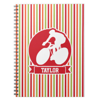 Cycling, Cyclist; Red, Orange Green Stripes Spiral Notebooks