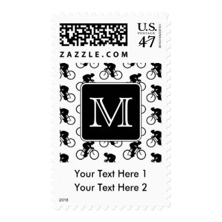Cycling Design with Custom Monogram Postage