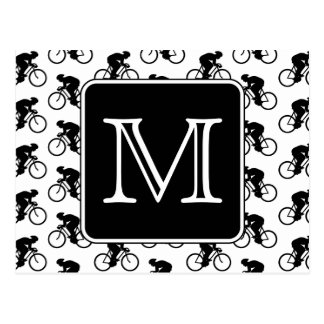 Cycling Design with Custom Monogram Postcard