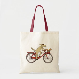 Cycling Dog and Squirrel - Fun Animal Art Canvas Bags