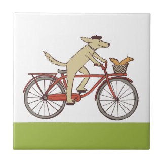 Cycling Dog and Squirrel Tile