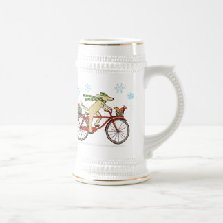 Cycling Dog and Squirrel Whimsical Winter Holiday 18 Oz Beer Stein