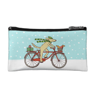 Cycling Dog and Squirrel Whimsical Winter Holiday Cosmetics Bags