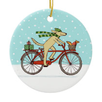 Cycling Dog and Squirrel Whimsical Winter Holiday Ceramic Ornament