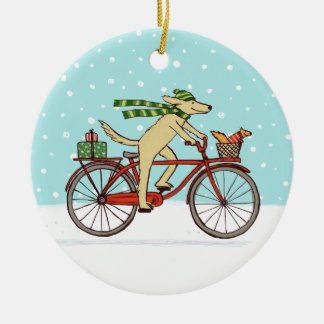 Cycling Dog and Squirrel Whimsical Winter Holiday Double-Sided Ceramic Round Christmas Ornament