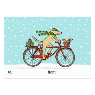 Cycling Dog and Squirrel Whimsical Winter Holiday Large Business Card
