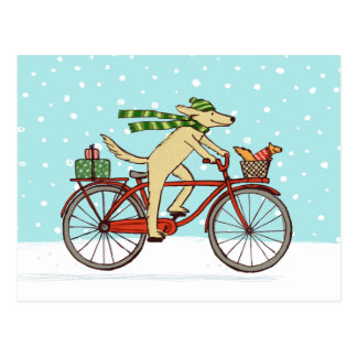 Cycling Dog and Squirrel Whimsical Winter Holiday Postcard