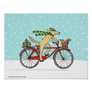 Cycling Dog and Squirrel Whimsical Winter Holiday Poster