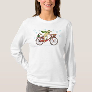 Cycling Dog and Squirrel Whimsical Winter Holiday T-Shirt