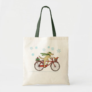 Cycling Dog and Squirrel Whimsical Winter Holiday Tote Bag