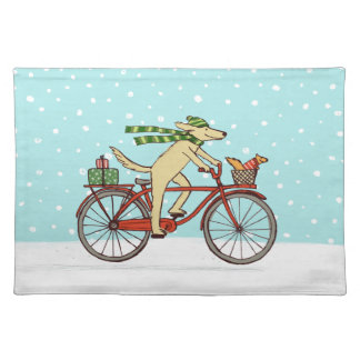 Cycling Dog and Squirrel Winter Holiday Cloth Placemat