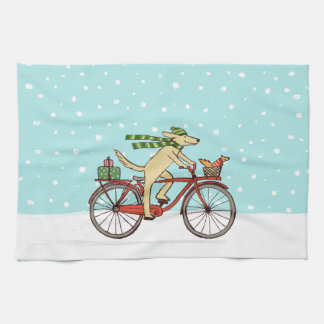Cycling Dog and Squirrel Winter Holiday Hand Towel