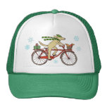 Cycling Dog and Squirrel Winter Holiday Trucker Hat