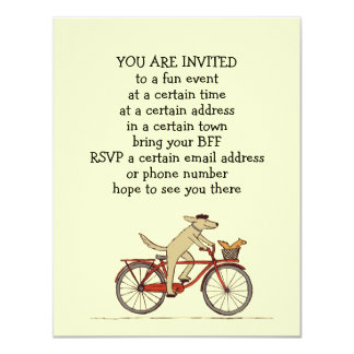 Cycling Dog with Squirrel Cute Party Announcements