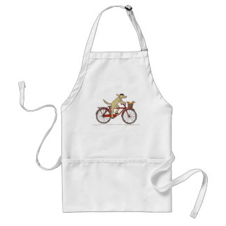 Cycling Dog with Squirrel Friend - Fun Animal Art Adult Apron