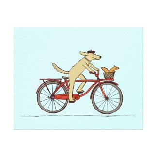 Cycling Dog with Squirrel Friend - Fun Animal Art Canvas Print