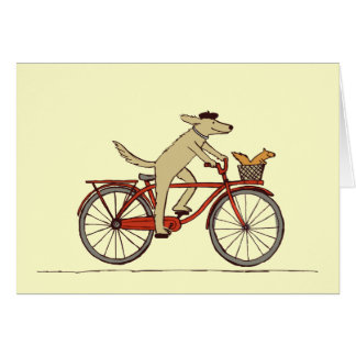 Cycling Dog with Squirrel Friend - Fun Animal Art Card
