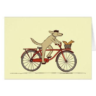 Cycling Dog with Squirrel Friend - Fun Animal Art Card