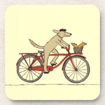 Cycling Dog with Squirrel Friend - Fun Animal Art Drink Coaster