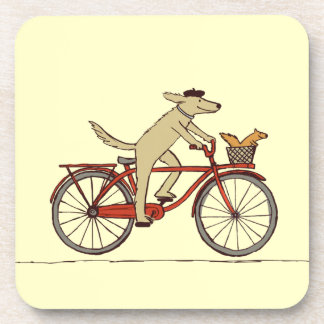Cycling Dog with Squirrel Friend - Fun Animal Art Drink Coaster