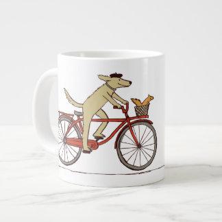 Cycling Dog with Squirrel Friend - Fun Animal Art Giant Coffee Mug