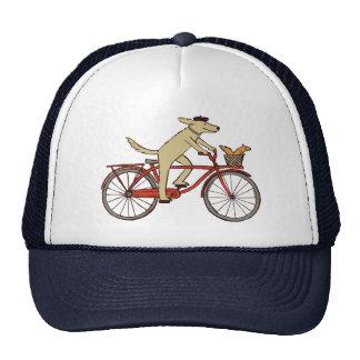 Cycling Dog with Squirrel Friend - Fun Animal Art Trucker Hats