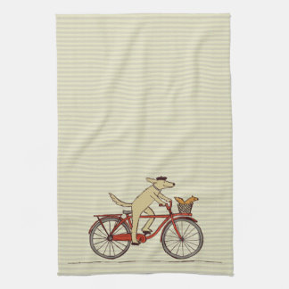 Cycling Dog with Squirrel Friend - Fun Animal Art Kitchen Towels