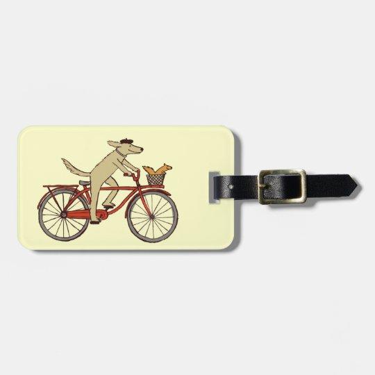 Cycling Dog with Squirrel Friend - Fun Animal Art Luggage Tag