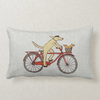 Cycling Dog with Squirrel Friend - Fun Animal Art Pillow