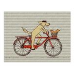 Cycling Dog with Squirrel Friend - Fun Animal Art Postcard