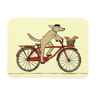 Cycling Dog with Squirrel Friend - Fun Animal Art Rectangular Photo Magnet
