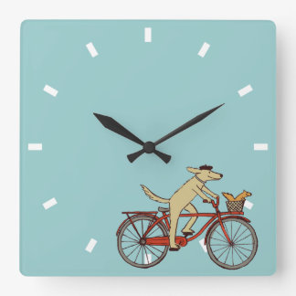 Cycling Dog with Squirrel Friend - Fun Animal Art Square Wall Clock