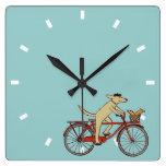 Cycling Dog with Squirrel Friend - Fun Animal Art Square Wallclocks