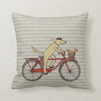 Cycling Dog with Squirrel Friend - Fun Animal Art Throw Pillow